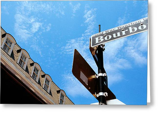 Bourbon Street Greeting Cards - Street Name Signboard On A Pole Greeting Card by Panoramic Images