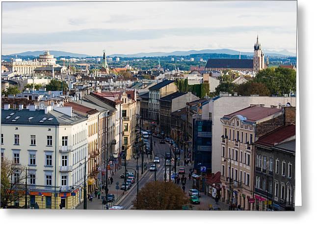 Cityspace Greeting Cards - street of Cracow Greeting Card by Marta Grabska-Press