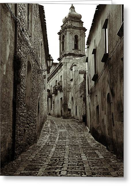 Erice Greeting Cards - Street of Erice Greeting Card by RicardMN Photography
