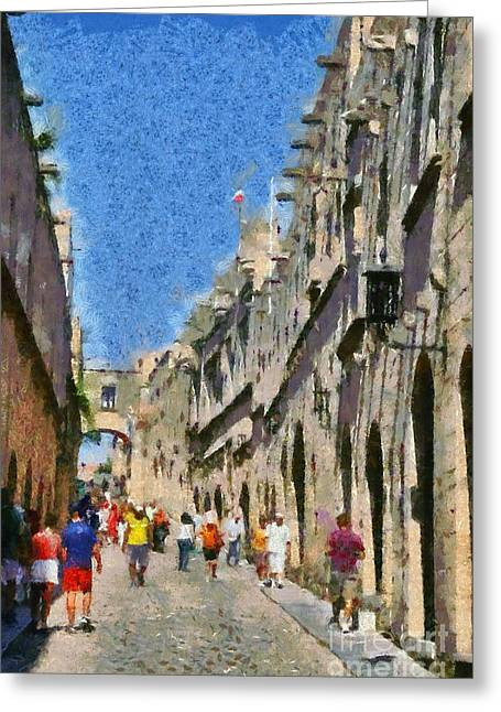 Rhodes Greeting Cards - Street of knights Greeting Card by George Atsametakis