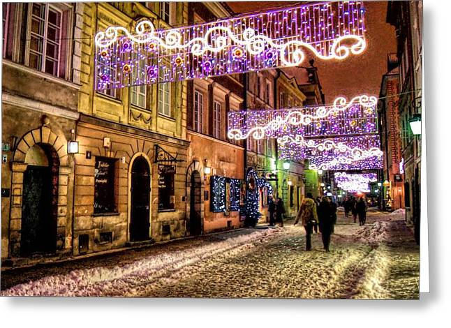Poland Greeting Cards - Street of Lights Greeting Card by Nathalie Hope
