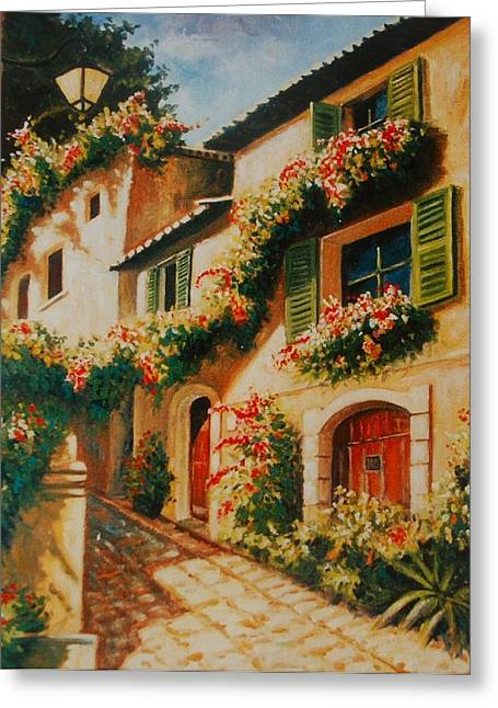 South Of France Greeting Cards - street of Provence Greeting Card by Santo De Vita