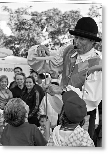 Street Performers Greeting Cards - Street Performer monochrome Greeting Card by Steve Harrington