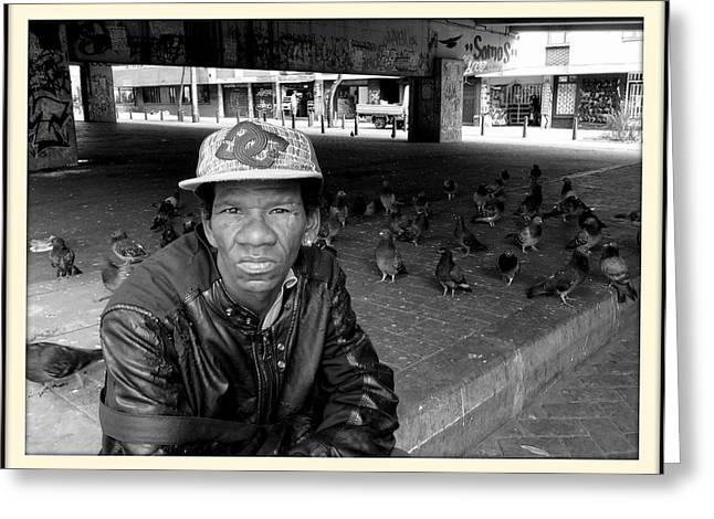 Long Street Greeting Cards - street portrait    Bogota Greeting Card by Daniel Gomez
