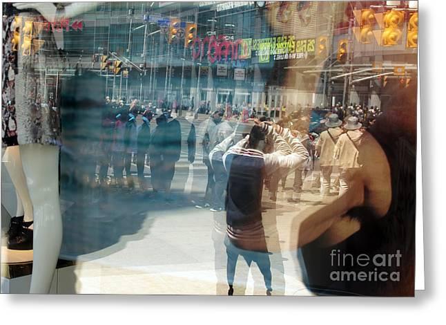 Vertigo Greeting Cards - Street Reflected In The Store Window Greeting Card by Igor Kislev