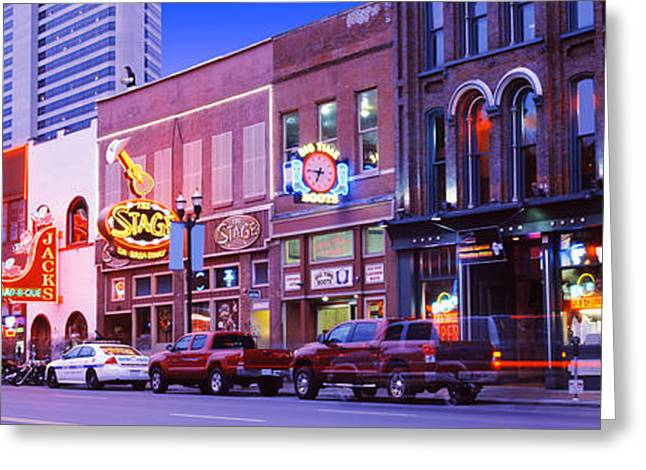 Nashville Panorama Greeting Cards - Street Scene At Dusk, Nashville Greeting Card by Panoramic Images