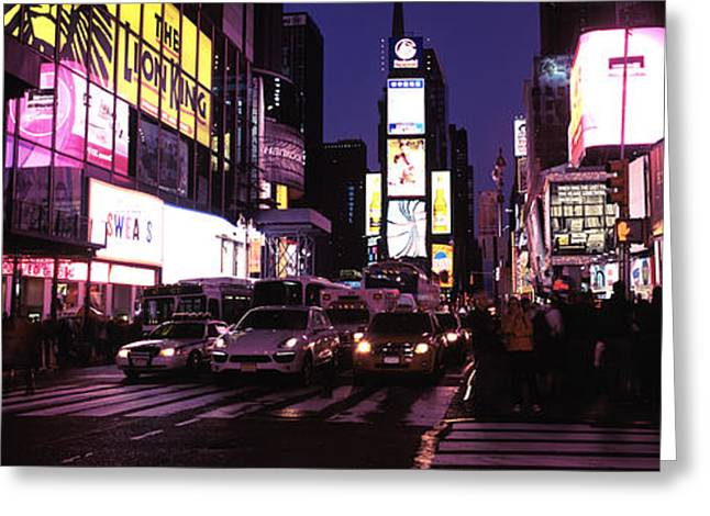 Commercial Photography Greeting Cards - Street Scene At Night, Times Square Greeting Card by Panoramic Images