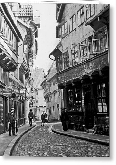 Greeting Card featuring the photograph Street Scene Braunschweig Germany 1903 by A Gurmankin