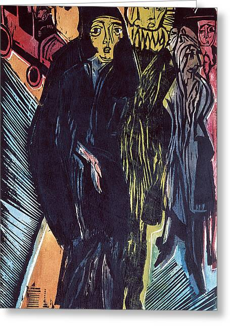 Motor Car Greeting Cards - Street Scene Coloured Litho 1922 Greeting Card by Ernst Ludwig Kirchner