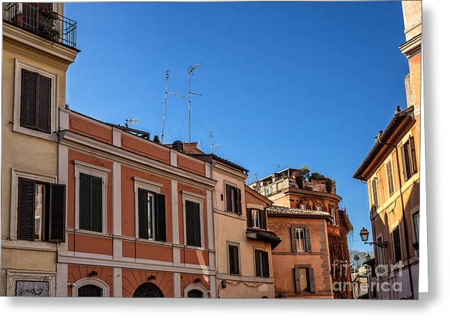 Trastevere Greeting Cards - Street scene from Trastevere district of Rome Italy Greeting Card by Frank Bach