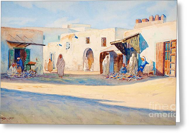 Soft Drawings Greeting Cards - Street scene from Tunisia. Greeting Card by Celestial Images