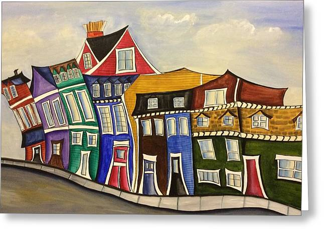 Old Maine Houses Greeting Cards - Street scene Greeting Card by Heather Lovat-Fraser