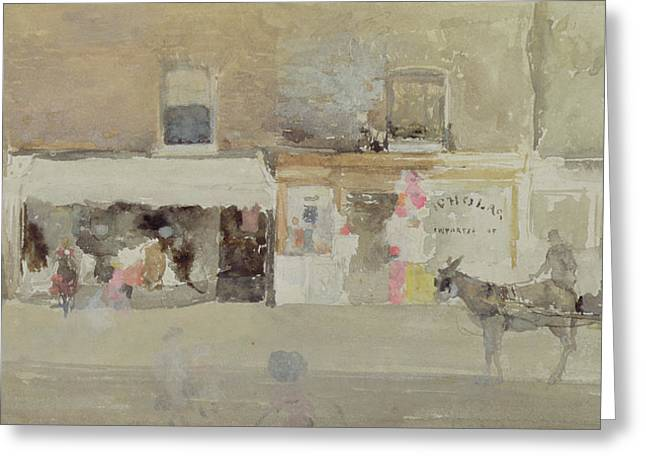 Horse And Cart Paintings Greeting Cards - Street Scene in Chelsea Greeting Card by James Abbott McNeill Whistler