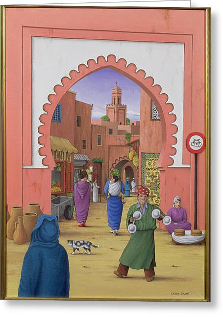 Souk Greeting Cards - Street Scene In Marrakesh, 1992 Acrylic On Linen Greeting Card by Larry Smart