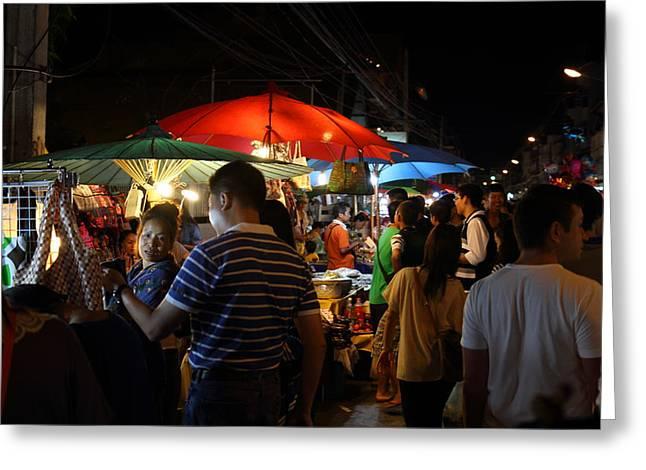 Merchants Greeting Cards - Street Scene - Night Street Market - Chiang Mai Thailand - 01135 Greeting Card by DC Photographer