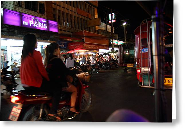 Merchant Greeting Cards - Street Scene - Night Street Market - Chiang Mai Thailand - 01139 Greeting Card by DC Photographer