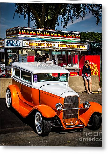 Orange Car Greeting Cards - Street Scene Greeting Card by Perry Webster