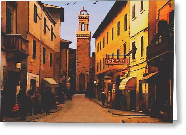 Street Scene Greeting Card by SophiaArt Gallery