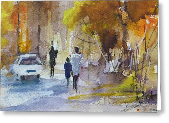 Winelands Greeting Cards - Street Scene Stellenbosch Greeting Card by Diane White