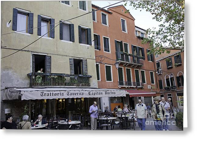 European Restaurant Greeting Cards - Street Scene - Venice Greeting Card by Madeline Ellis
