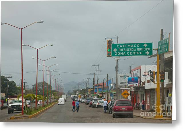 Streetlight Greeting Cards - Street Scene, Veracruz, Mexico Greeting Card by Richard and Ellen Thane