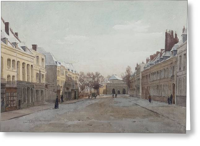 Facades Drawings Greeting Cards - Street Scene Greeting Card by Henri Duhem