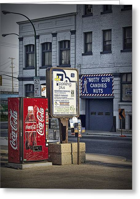 Vending Machine Photographs Greeting Cards - Street Scene with Coke Machine No. 2110 Greeting Card by Randall Nyhof