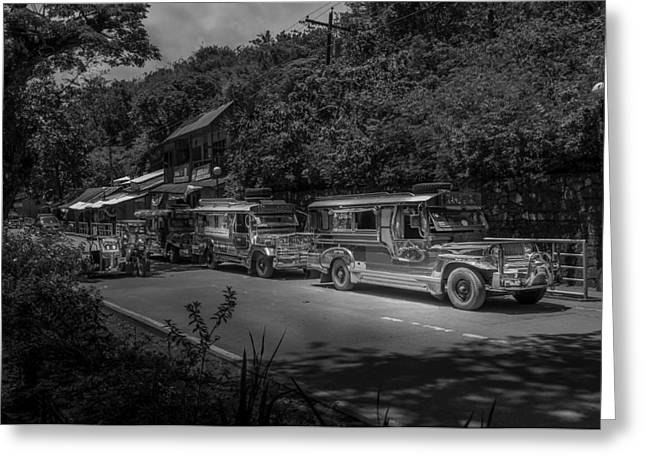 Asien Greeting Cards - Street Scene With Jeepneys On A Road In The Philippines. Greeting Card by Colin Utz