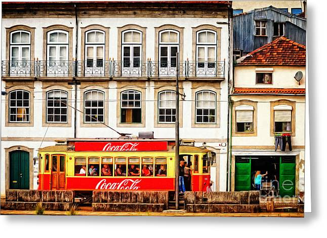 Street Scene Digital Art Greeting Cards - Street Scene with Red Tram - Oporto Greeting Card by Mary Machare
