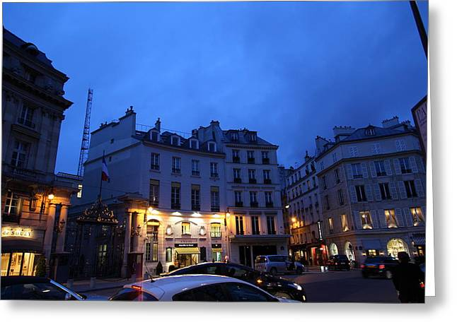 Night Greeting Cards - Street Scenes - Paris France - 011337 Greeting Card by DC Photographer