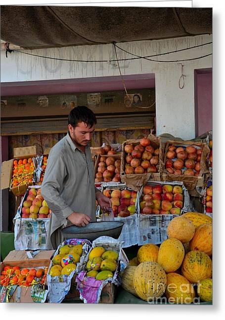 Mango Greeting Cards - Street side fruit vendor Islamabad Pakistan Greeting Card by Imran Ahmed