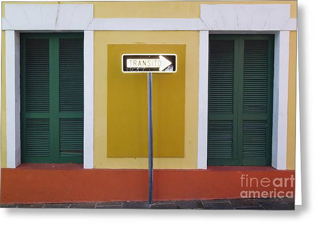 Puerto Rico Greeting Cards - Street Sign in Old San Juan Greeting Card by George Oze