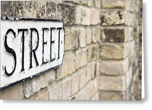 Black Commerce Greeting Cards - Street sign Greeting Card by Tom Gowanlock