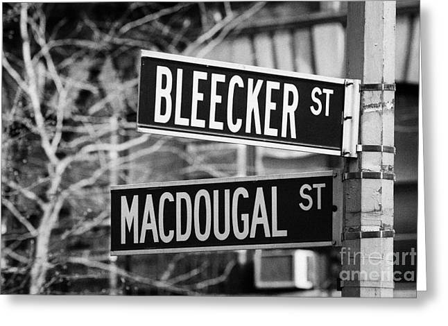 Manhaten Greeting Cards - street signs at junction of Bleeker st and Macdougal street greenwich village new york city Greeting Card by Joe Fox