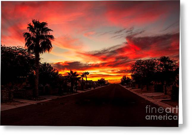 Bale Greeting Cards - Street Southwest Sunset Greeting Card by Robert Bales