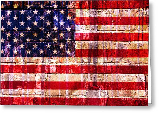July 4th Greeting Cards - Street Star Spangled Banner Greeting Card by Delphimages Photo Creations