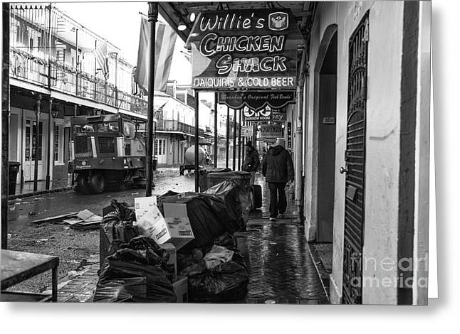 Street Sweeper Greeting Cards - Street Sweeper on Bourbon Street mono Greeting Card by John Rizzuto