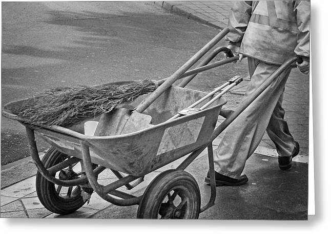 Street Sweeper Greeting Cards - Street Sweeper - Wheelbarrow Greeting Card by Nikolyn McDonald