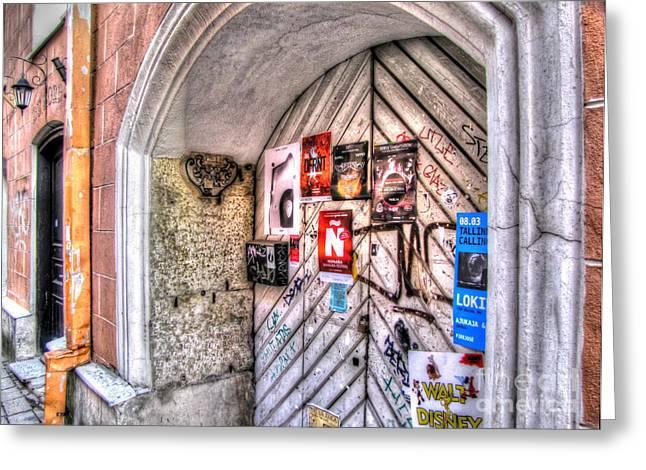 Street Pyrography Greeting Cards - Street Tallin Estonia Greeting Card by Yury Bashkin