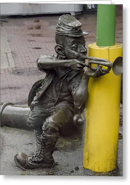 Metal Art Greeting Cards - Street Trumpeter - Rio de Janiero - Brazil Greeting Card by Jon Berghoff