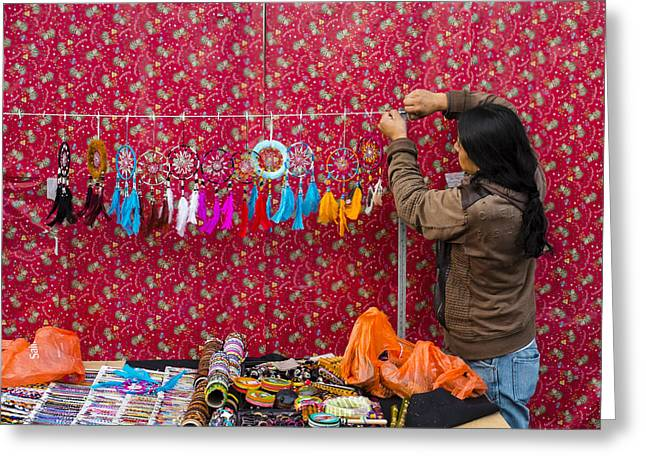 Social Comment Greeting Cards - Street vendor England Greeting Card by Gerry Walden
