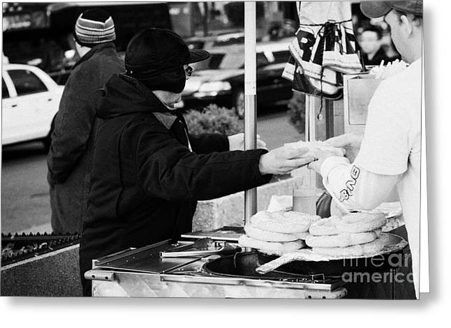 Food Kiosk Greeting Cards - Street Vendor Selling And Handing Over Hot Dogs New York City Greeting Card by Joe Fox