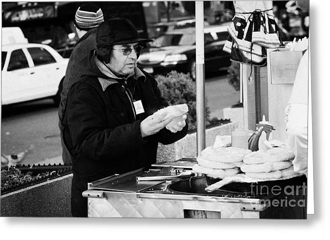 Consume Greeting Cards - Street Vendor Selling Hot Dogs New York City Greeting Card by Joe Fox