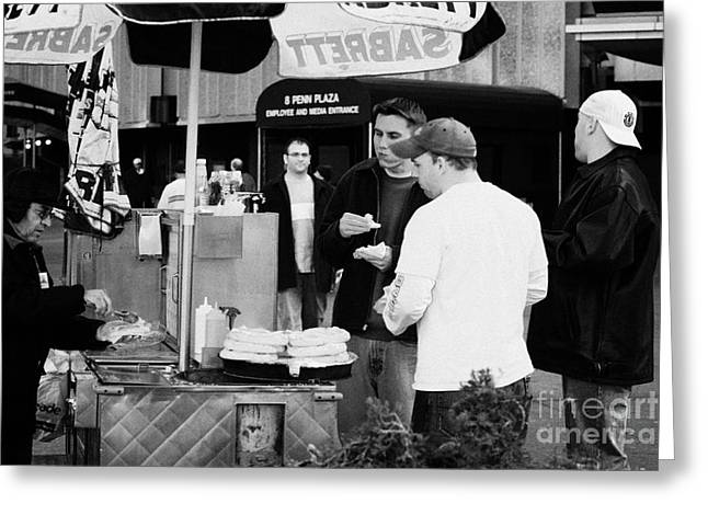 Street Vendor Selling Hot Dogs People New York City Manhattan Greeting Card by Joe Fox