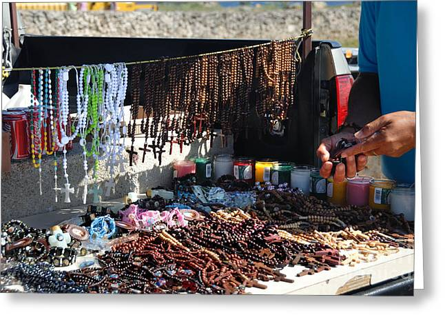 Recently Sold -  - Rosary Greeting Cards - Street Vendor Selling Rosaries Greeting Card by Amy Cicconi