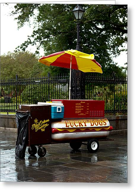 Lucky Dogs Greeting Cards - Street Vendor Greeting Card by Susie Hoffpauir