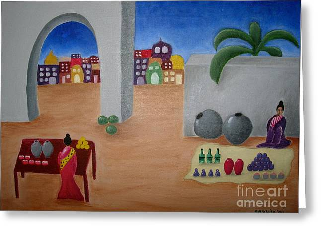 Water Jars Paintings Greeting Cards - Street Vendors Greeting Card by Victoria Lakes