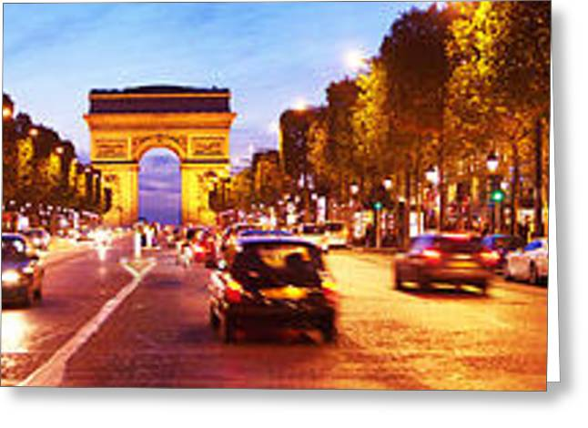 Arc De Triomphe Greeting Cards - Street View At Dusk, Arc De Triomphe Greeting Card by Panoramic Images