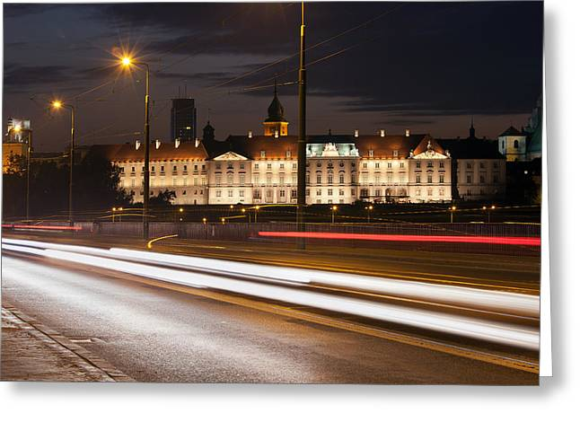 Polish Culture Greeting Cards - Street View of the Royal Castle at Night in Warsaw Greeting Card by Artur Bogacki