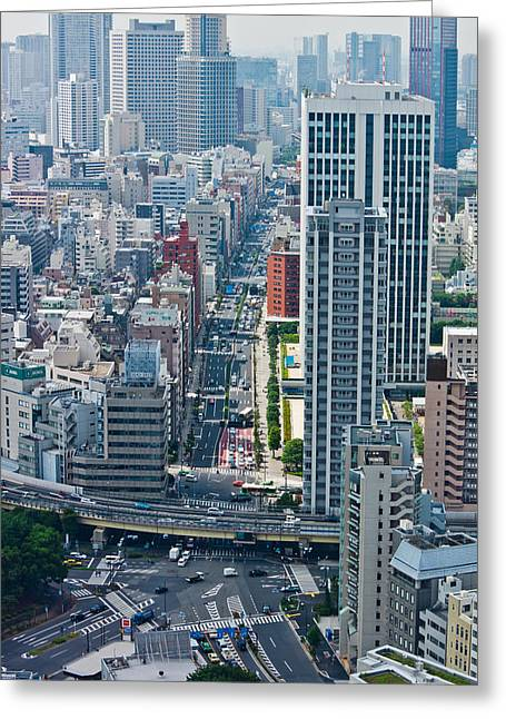 """""""japan City"""" Greeting Cards - Street View Tokyo Greeting Card by Scott Carruthers"""